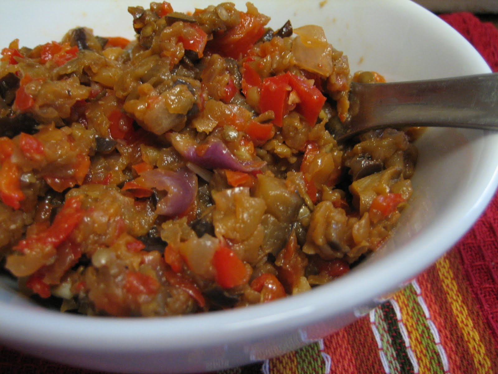 Lentil Breakdown: Roasted Eggplant Spread on Polenta Rounds