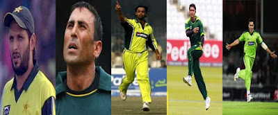Afridi, Shoaib Akhtar, Younus Khan,Razzaq and Umar Gul