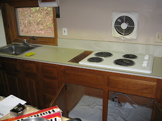 formica kitchen counter top with cook top