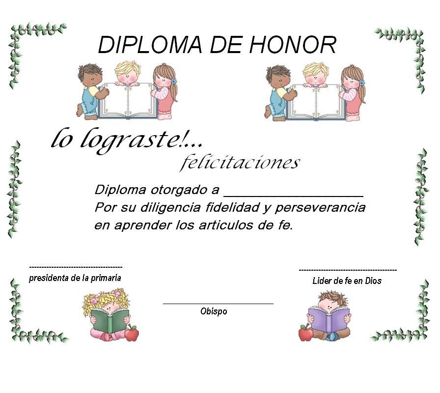 Diplomas De Reconocimiento Para Ninos