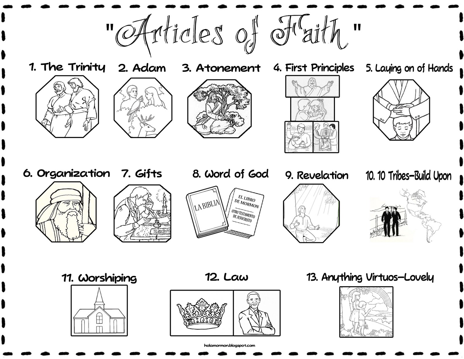 article of faith coloring pages - photo#7