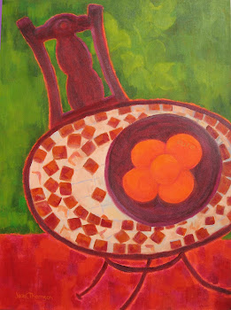 Oranges on Mosaic Table