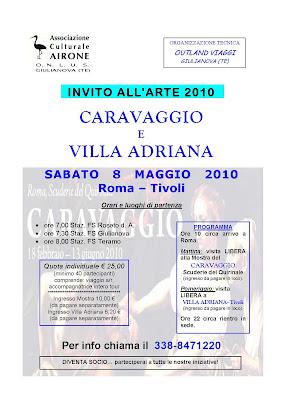 Giulianova. 8 maggio 2010, l'Associazione Airone vi invita alla mostra di Caravaggio a Roma.