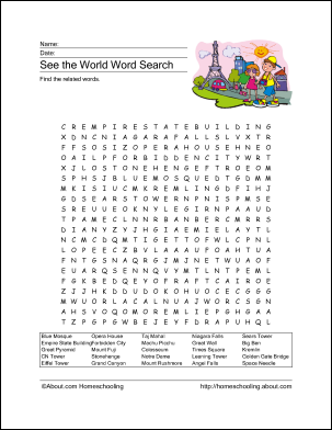 Travel Word Search Puzzle - Printable Worksheet - Free ...