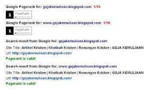 GSJA, GSJA KEMULIAAN, PR1, Page Rank