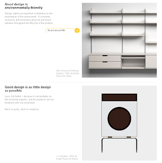 screenshot of the vitsoe page with 606 shelves system designed by dieter rams call to action