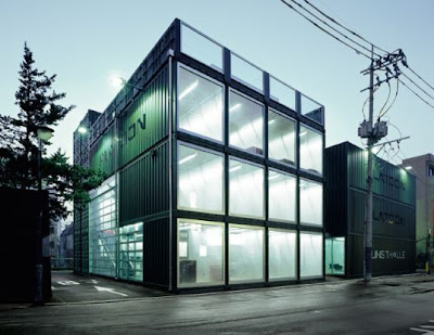 A striking example of shipping container architecture, Platoon Kunsthalle serves as an exciting and inspiring new exhibit hall and art center in Seoul, Korea. Built from standard shipping containers by Graft Lab Architects,
