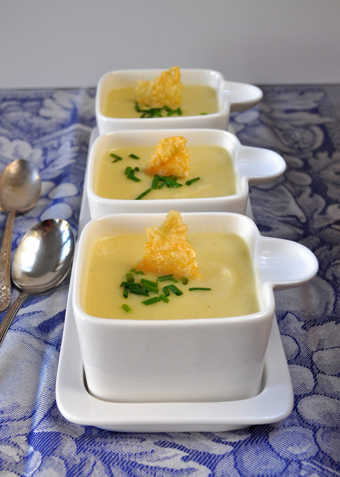 Silky Cauliflower Soup With Parmesan Crisps | Lemons and Lavender