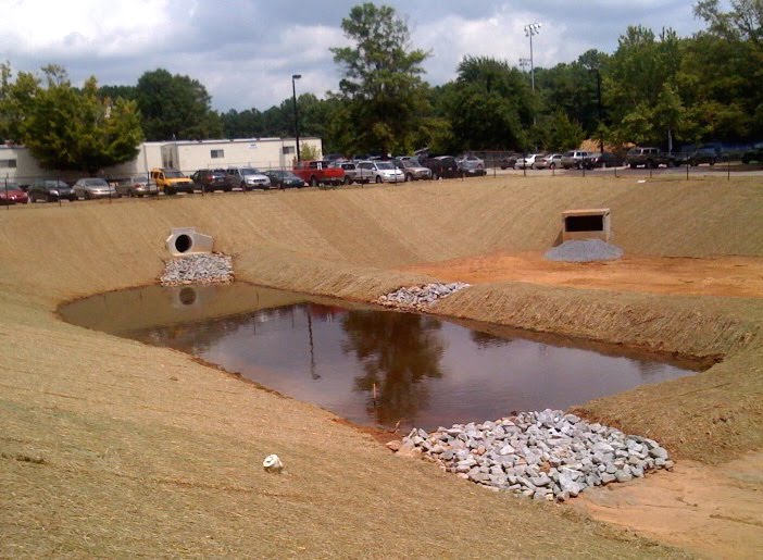 Basins on pinterest for Design of stormwater detention ponds