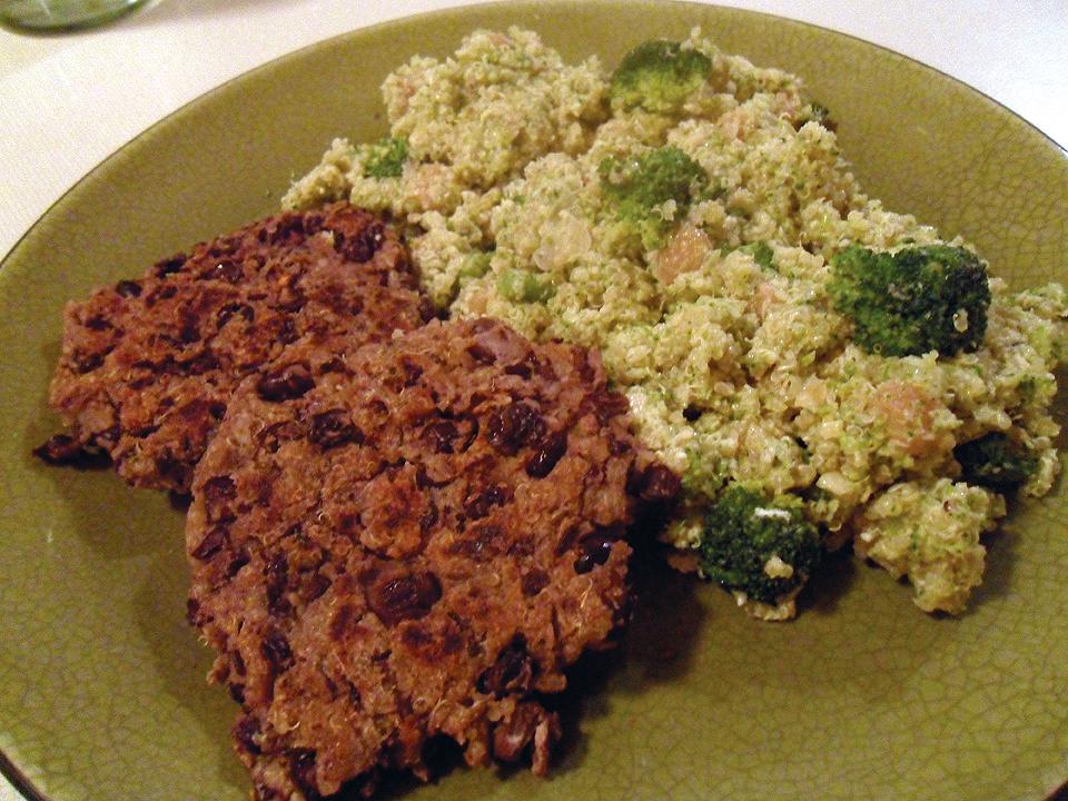 Double Broccoli Quinoa and Black Bean Patties