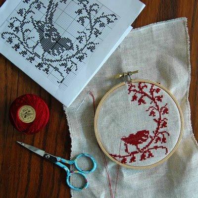 redwork birdie-in-the-making