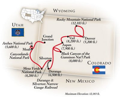 here's a map of the Tauck National Parks of the West Tour