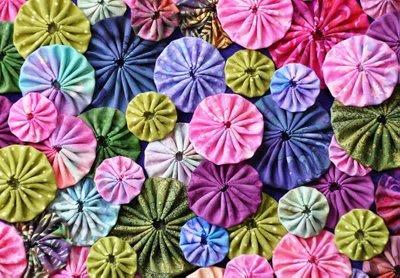 colorful, hand-stitched yo-yos