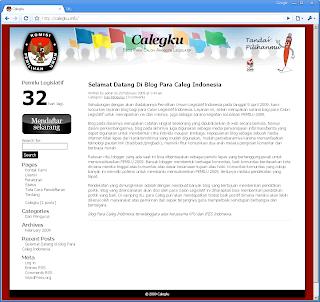 Tampilan halaman situs calegku.info