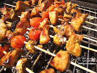 recette brochette porc tomate champignon marinade curry sauce soja