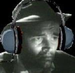 Shamus with headphones