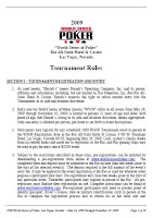 2009 WSOP Tournament Rules