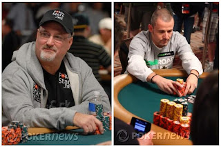 Tom Schneider and Joe Sebok during Day 6 of the 2009 WSOP Main Event