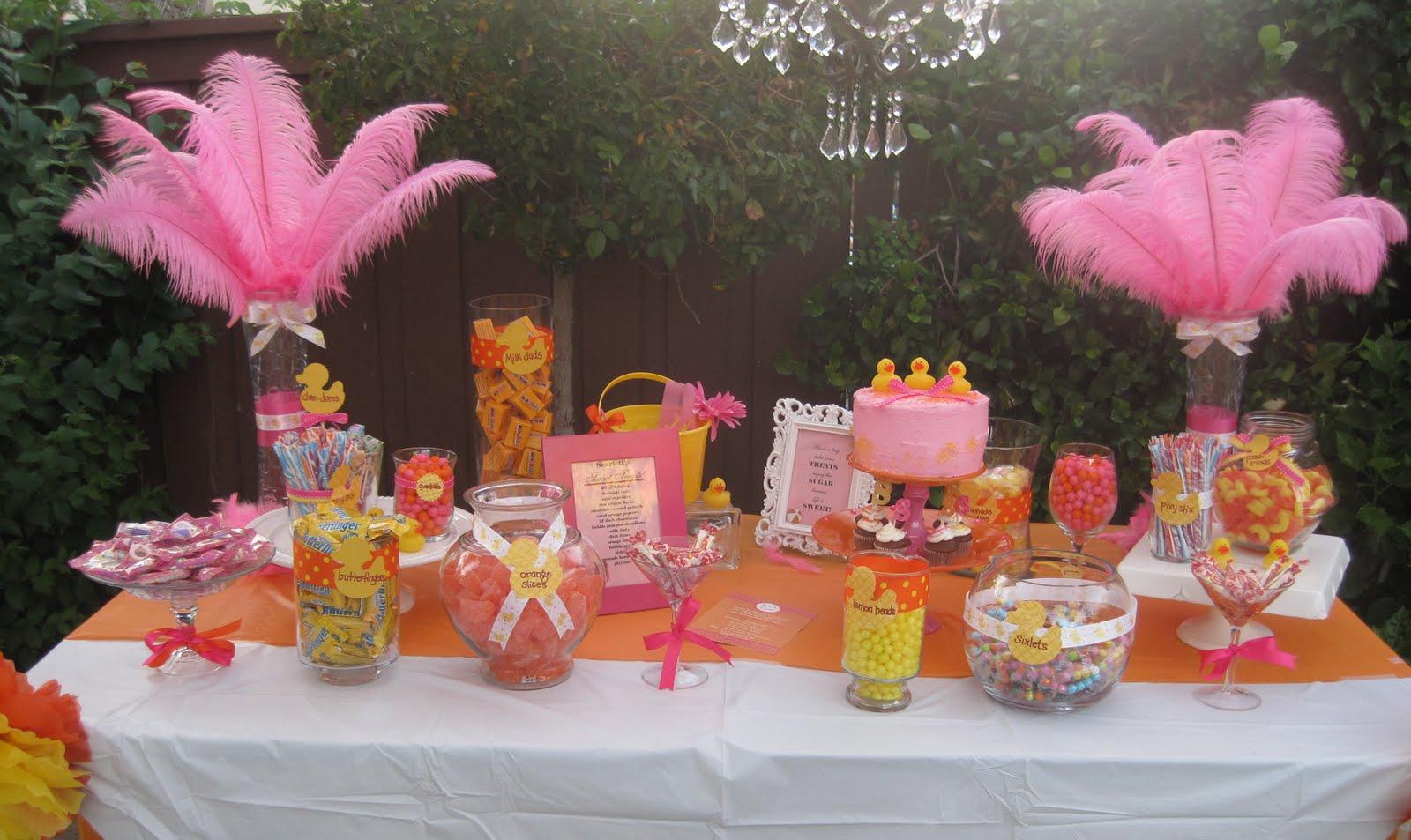 pink yellow orange baby shower