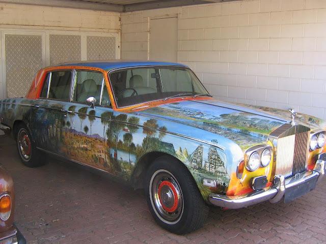 Pro Hart Rolls Royce Silver Shadow Australian Outback Painting
