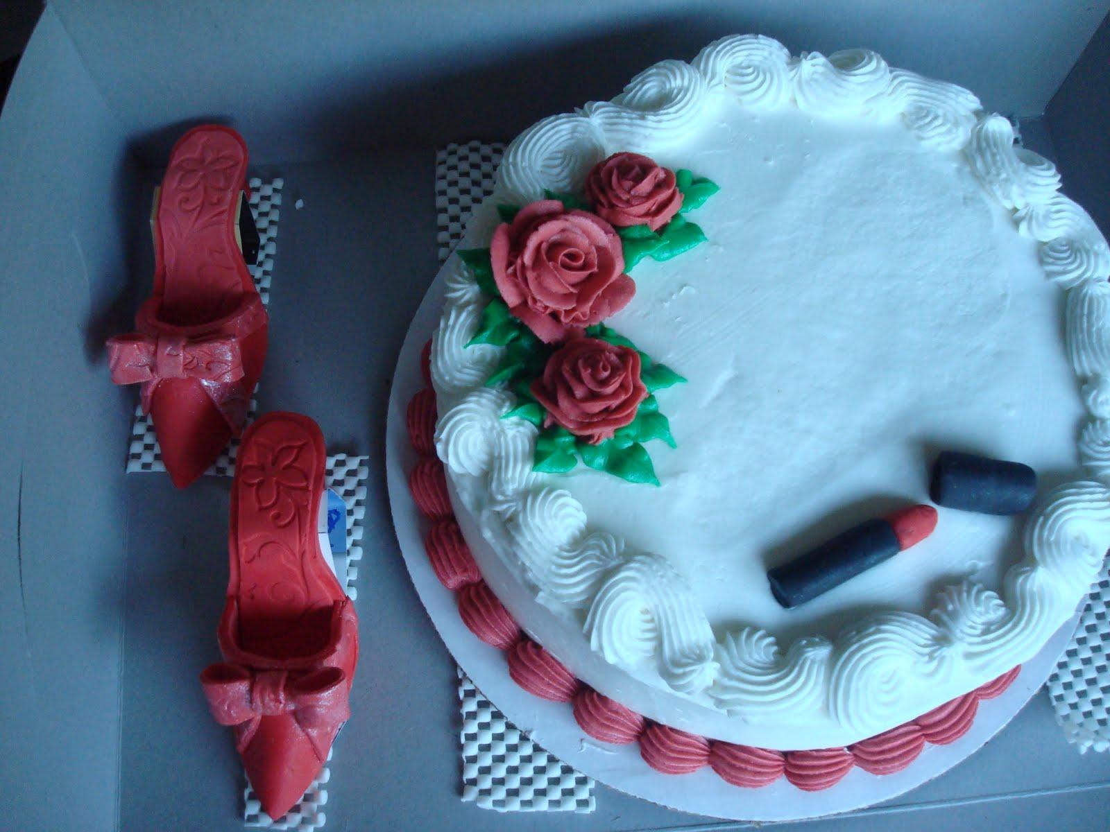 kieslerkakes Red Fondant Shoes Lipstick & Cake