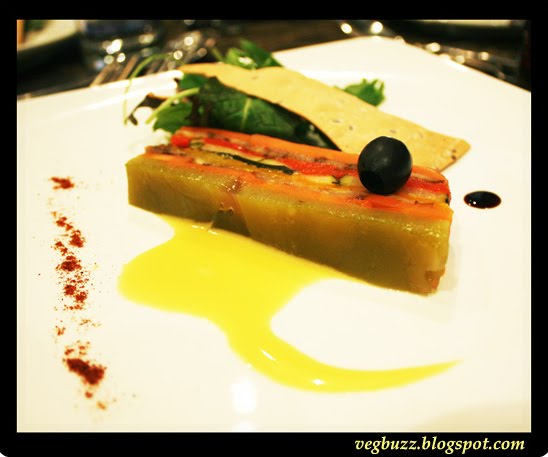 Vegetable Terrine with Salad and Passionfruit Vinegarette