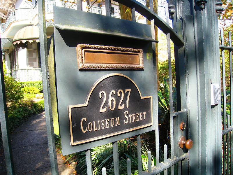 Metal gate outside Sandra Bullock's Victorian home in the Garden District of New Orleans