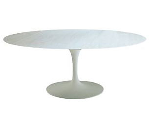 Shop Saarinen Oval Dining Table White Marble White Base