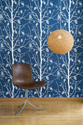 Dark blue wallpaper with white trees from Frem Living