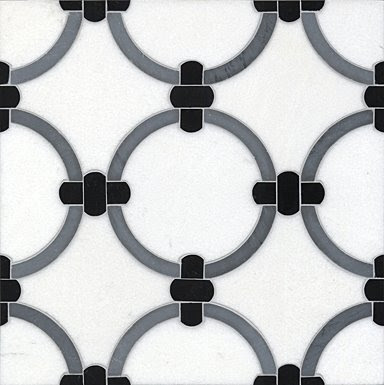 Black, white and grey ring patterned tile from Ann Sacks