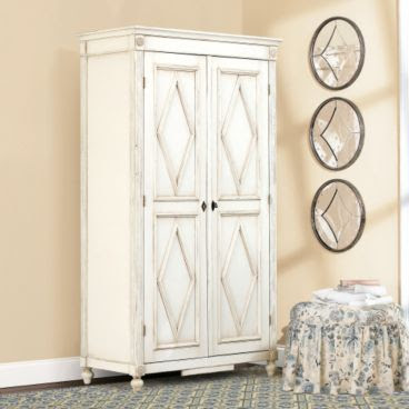 Distressed white Louis XVI style armoire from Ballard Designs