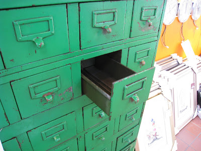 Vintage Green steel card file cabinet