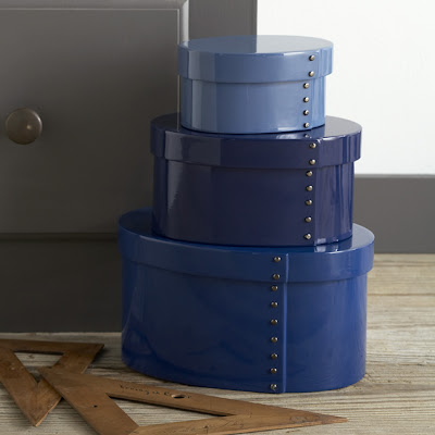 Three blue studded lacquer boxes from West Elm