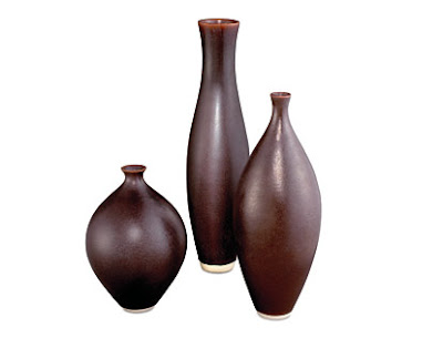 Eggplant porcelain vases from Room & Board