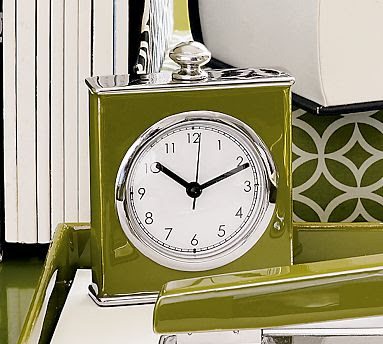 Army green square clock with a glossy finish and a round face from Pottery Barn