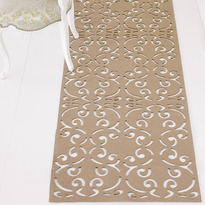 Wool blend laser cut rug from Brocade Home