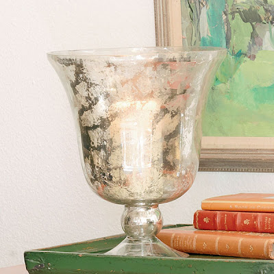 Mercury glass hurricane lamp from Wisteria