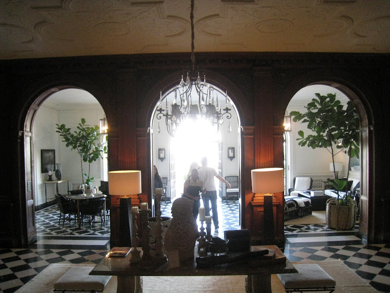 Main Grand Hall at the Greystone mansion seen from the entrance hall and gallery