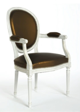 French made fauteuil chair with white finish and brown upholstered fabric from Pieces