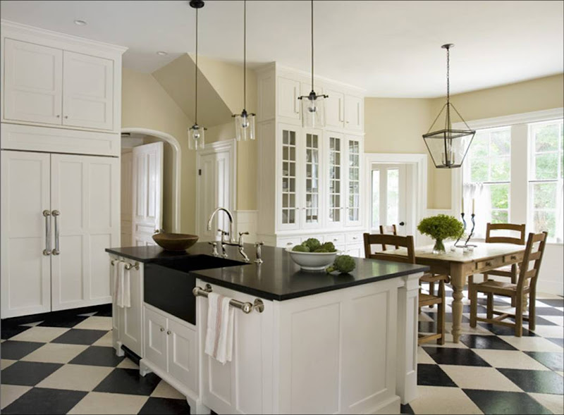 Eric+roth+kitchen+white+traditional+cabinets+check+checkered+tile+floor+black+granite+countertops+lantern+pendant+light+chandelier+farmhouse+table