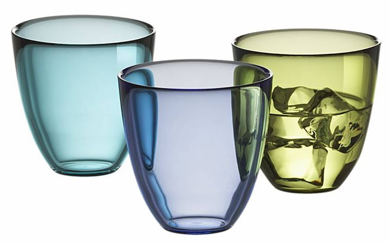 Three sustainable glass tumblers from Crate & Barrel