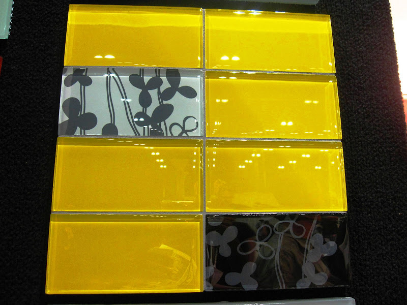 Bright yellow colored glass subway tiles by Mod Walls at Dwell on Design