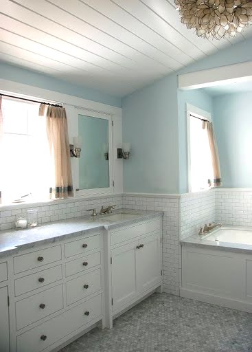 All about home decoration furniture bath week how five for Bathroom wood ceiling ideas