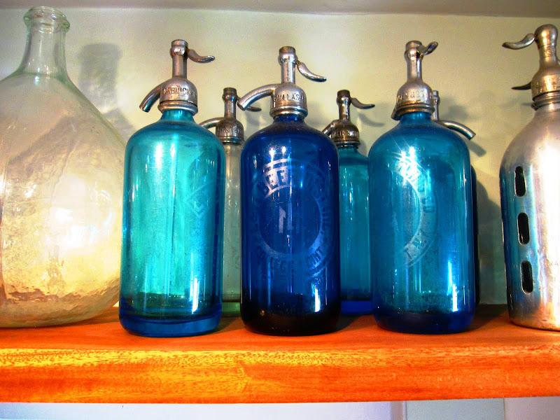 Vintage blue seltzer bottles