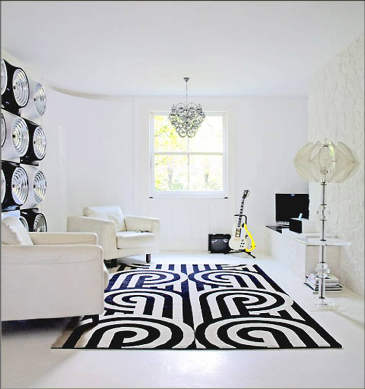 White living room with a graphic black and white rug from knots rug