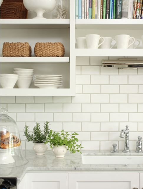 What color subway tile with oak cabinets for White kitchen with white backsplash