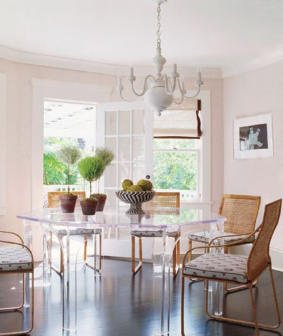 Photo courtesy of Elle Decor A stylish octagonal custom lucite dining table