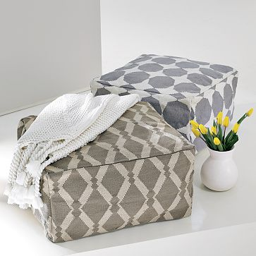 Two Dhurrie poufs from West Elm