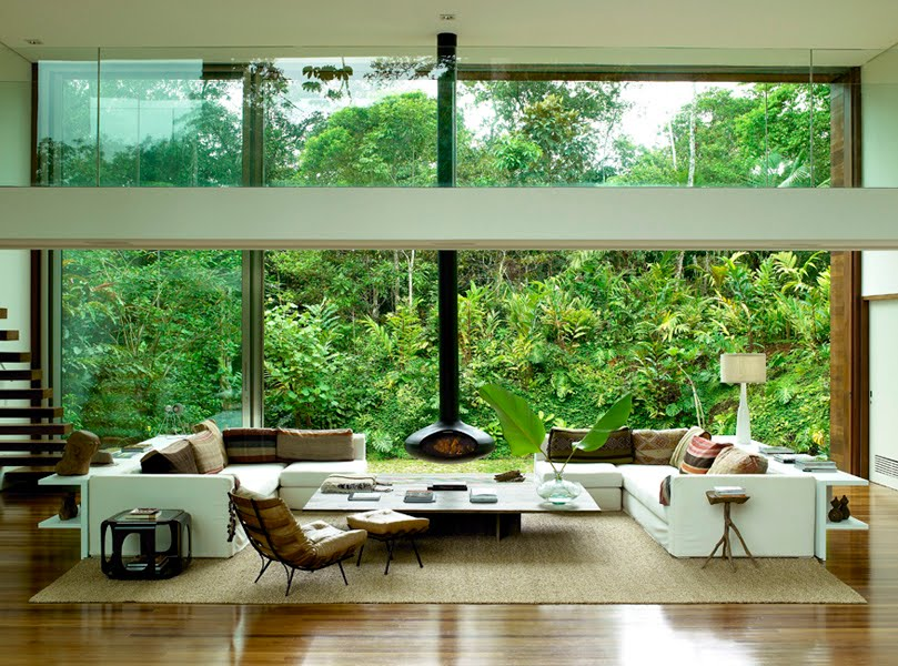 The idea of landscape plants hillside views of tropical living room design
