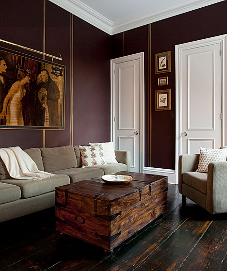 Cococozy cozy inviting living perfect for frosty weather for Dark purple wall color